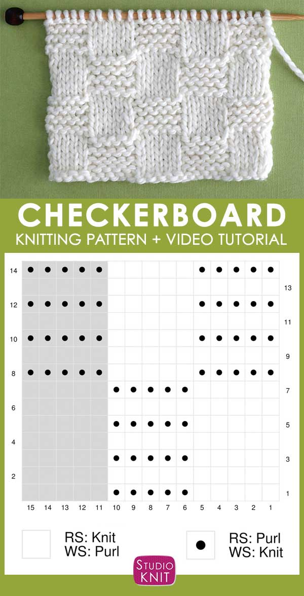 Knitting Chart Garter Checkerboard Knit Stitch Pattern