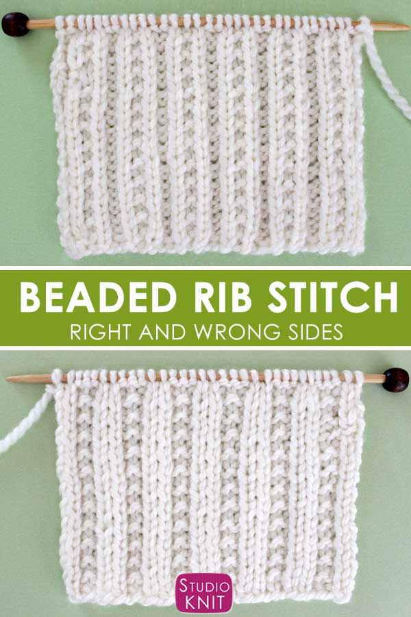 Beaded Rib Stitch Knitting Pattern Right and Wrong Sides