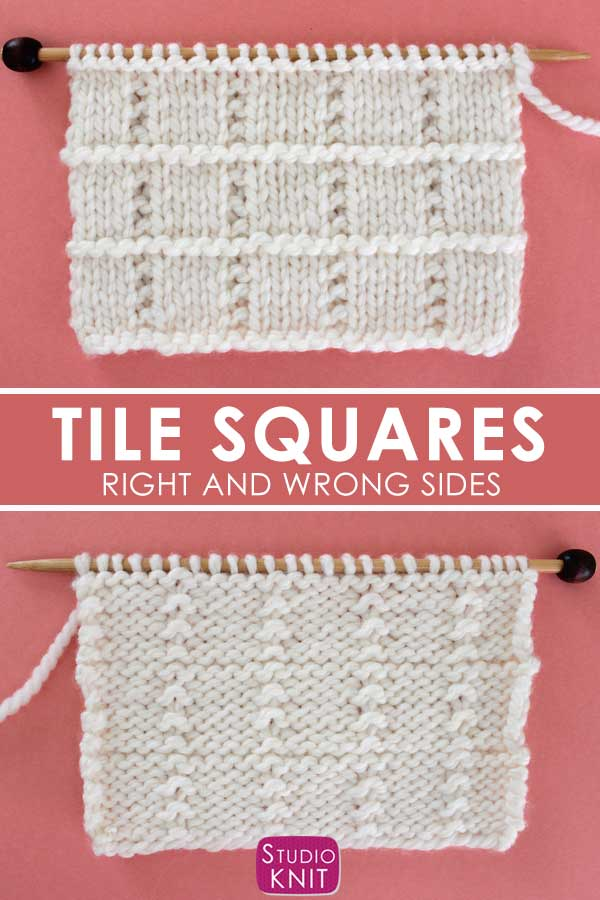 Right and Wrong sides of the Tile Squares Stitch Knitting Pattern