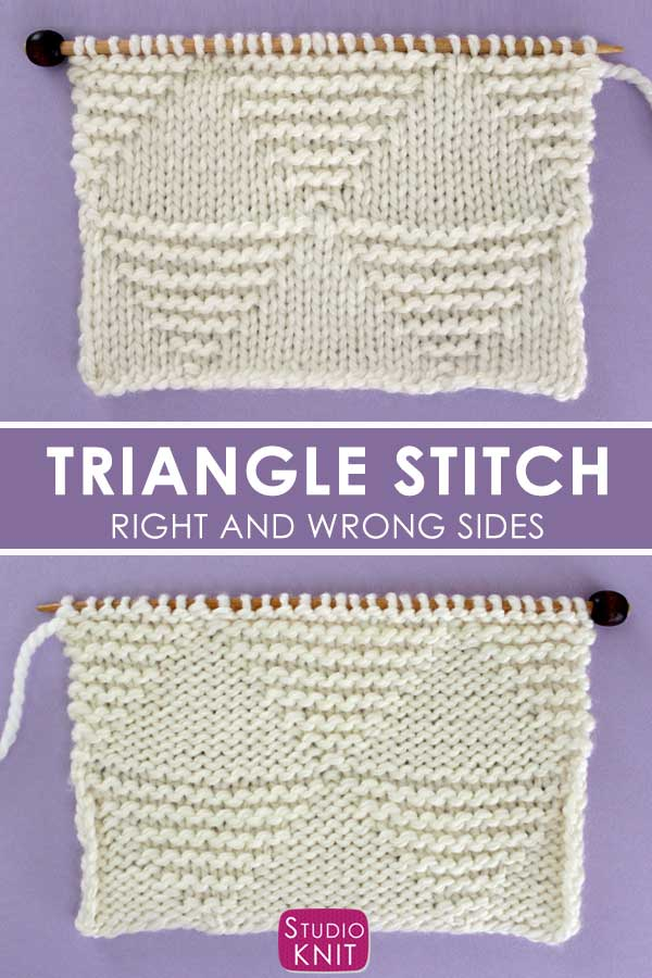 Large Stacked Triangle Stitch Knitting Pattern Right and Wrong Sides