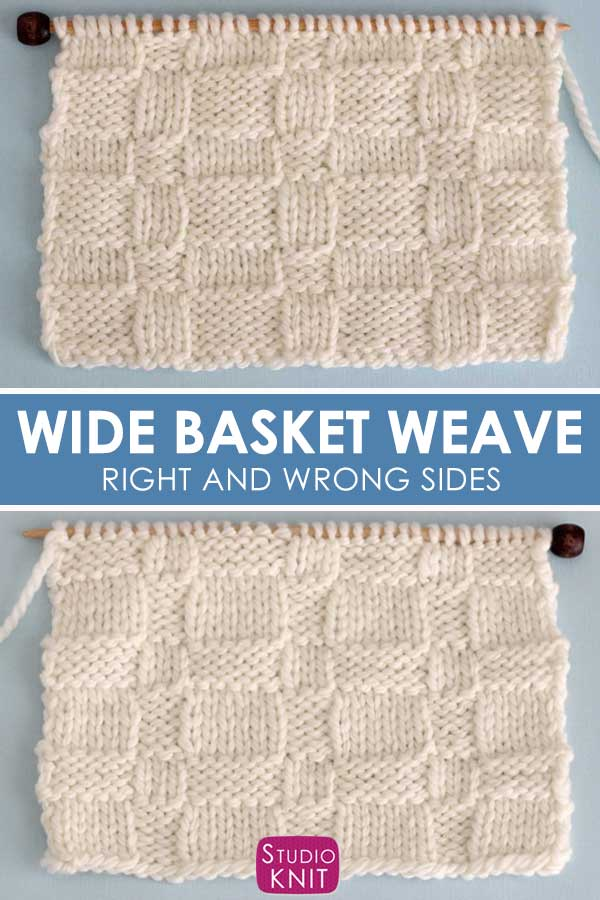 Wide Basketweave Stitch Knitting Pattern Right and Wrong Sides