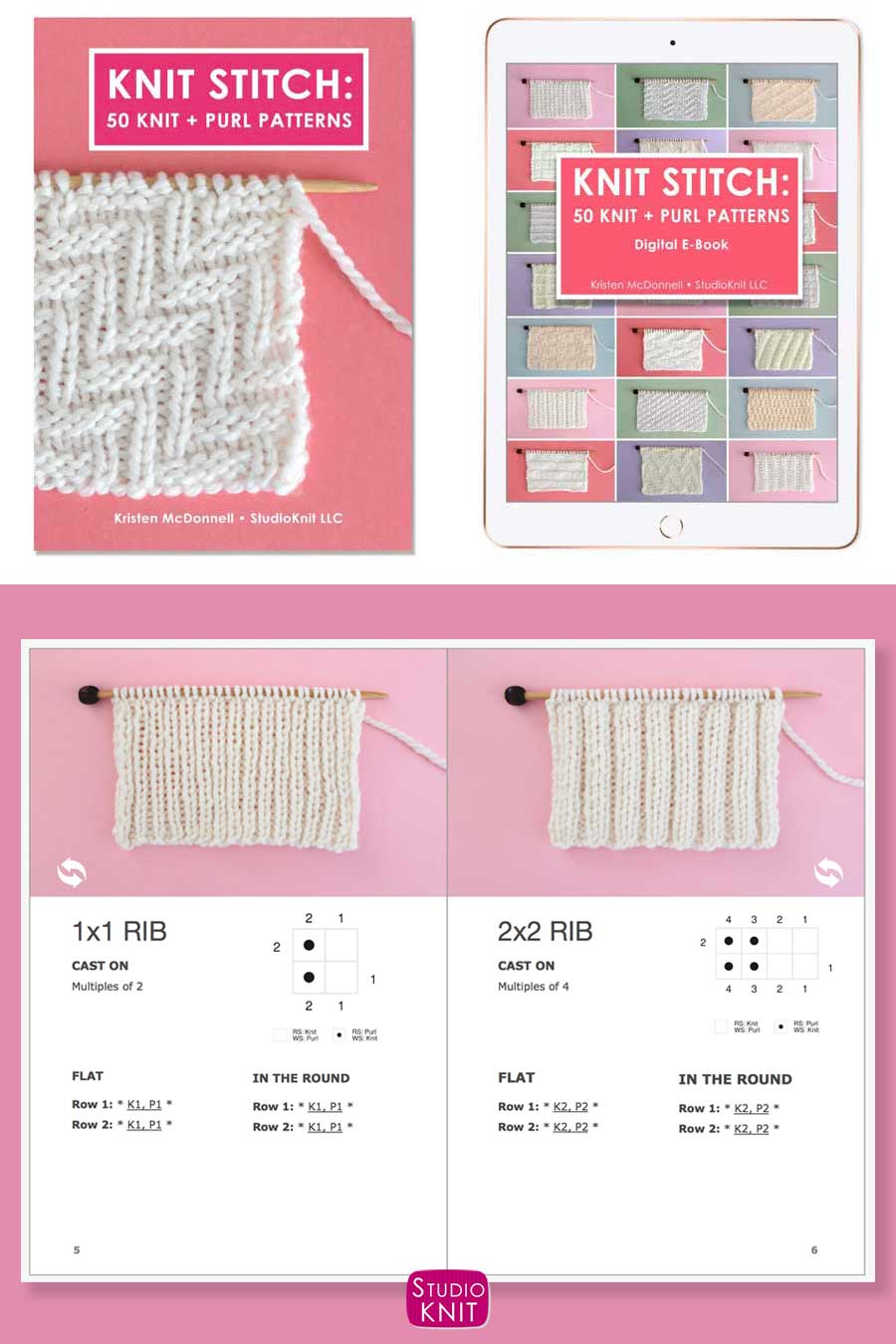 Knit Stitch Pattern Book with 2X2 Stitch Pattern by Studio Knit