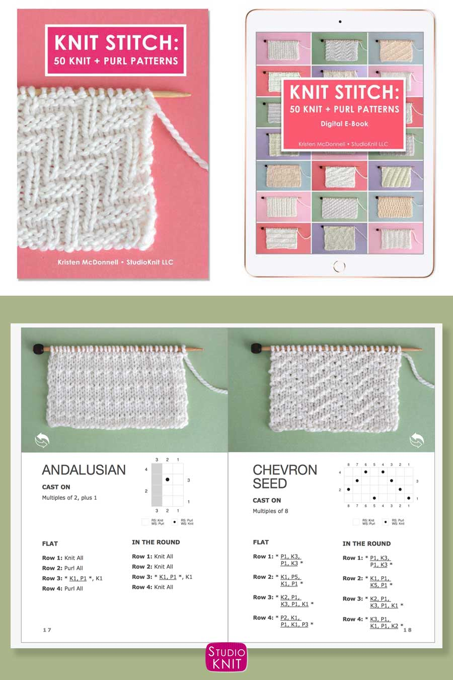 Knit Stitch Pattern Book with Chevron Seed Stitch Pattern by Studio Knit
