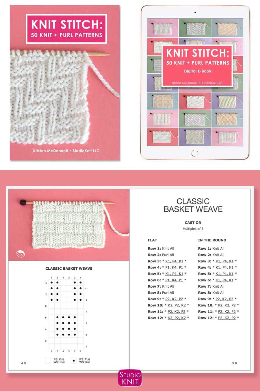 Knit Stitch Pattern Book with Classic Basket Weave Stitch Pattern by Studio Knit