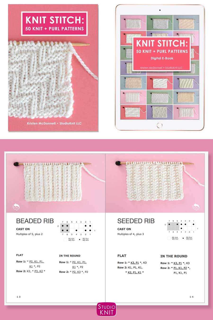 Knit Stitch Pattern Book with Beaded Rib and Seeded Rib Stitch Patterns