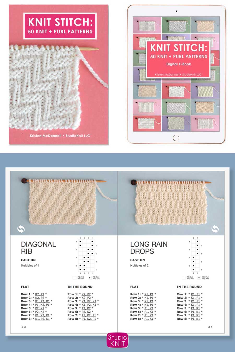 Knit Stitch Pattern Book with Diagonal Rib and Long Raindrops Stitch Patterns