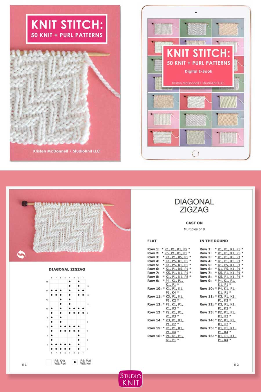 Knit Stitch Pattern Book with Diagonal Zigzag Stitch Pattern by Studio Knit