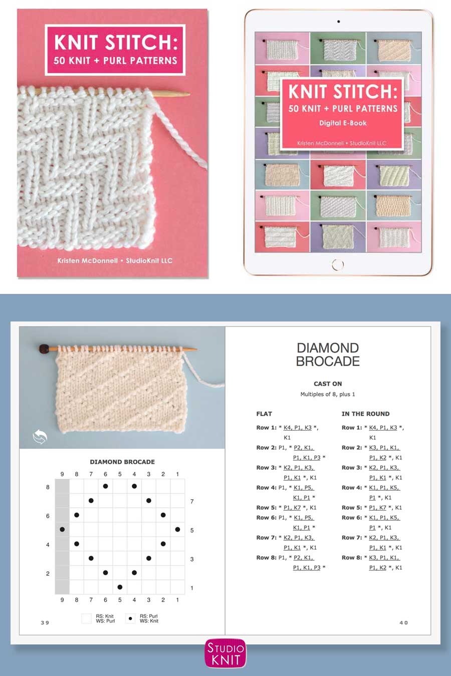 Knit Stitch Pattern Book with Diamond Brocade Stitch Pattern by Studio Knit
