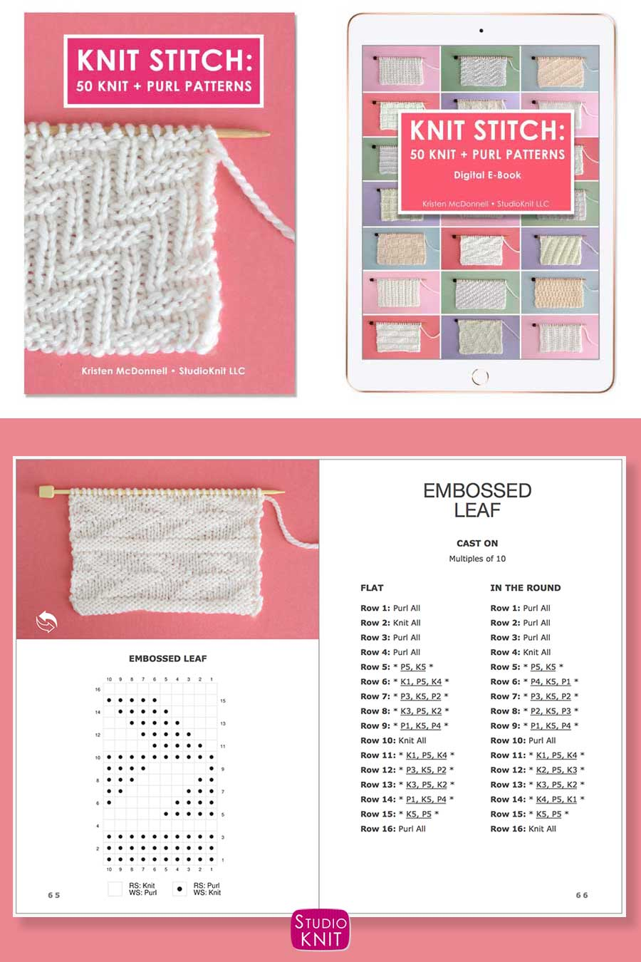 Knit Stitch Pattern Book with Embossed Leaf Stitch Pattern by Studio Knit. #StudioKnit #knitting #knitstitchpattern #knittingstitches