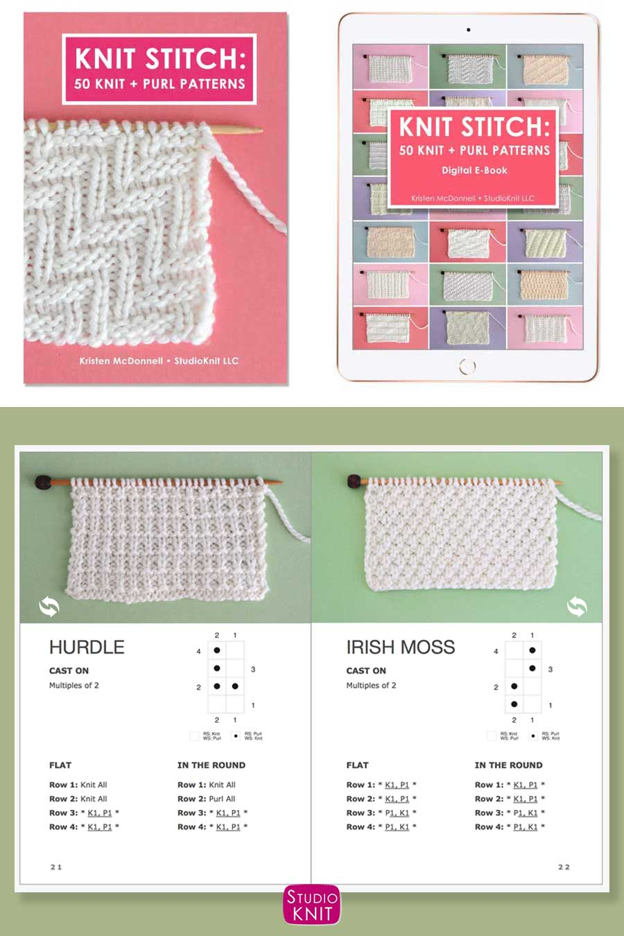 Knit Stitch Pattern Book with Hurdle and Irish Moss Stitch Patterns