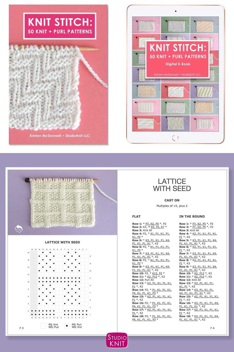 Knit Stitch Pattern Book with Lattice withe Seed Stitch Pattern by Studio Knit