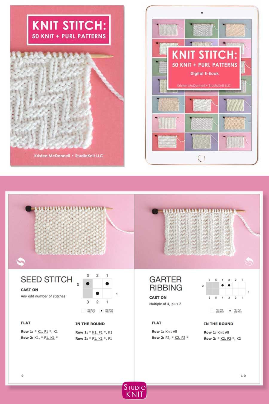 Knit Stitch Pattern Book with Seed and Garter Ribbing Stitch Patterns