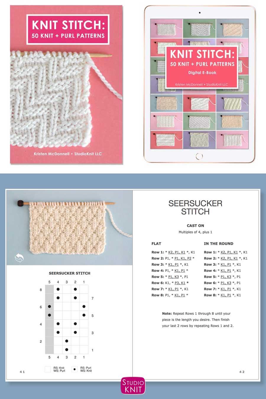 Knit Stitch Pattern Book with Seersucker Stitch Pattern by Studio Knit