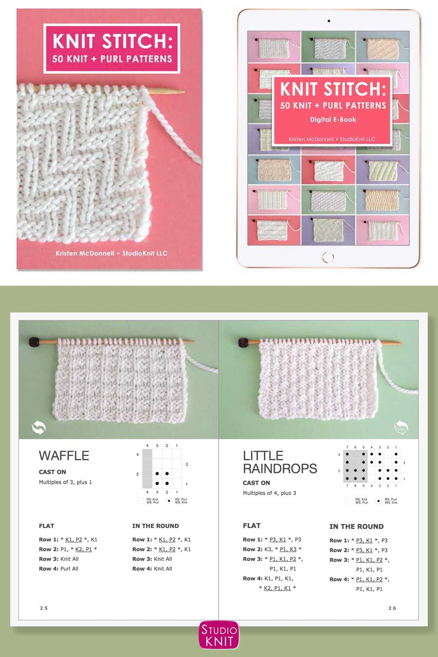 Knit Stitch Pattern Book with Waffle and Little Raindrops Stitch Patterns by Studio Knit