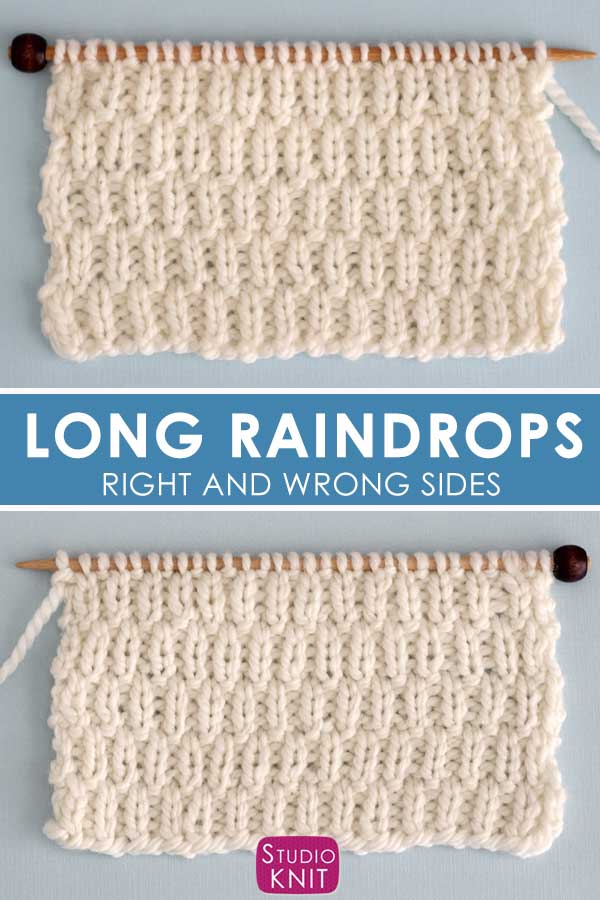 Right and Wrong Sides of the Long Raindrops Stitch Pattern