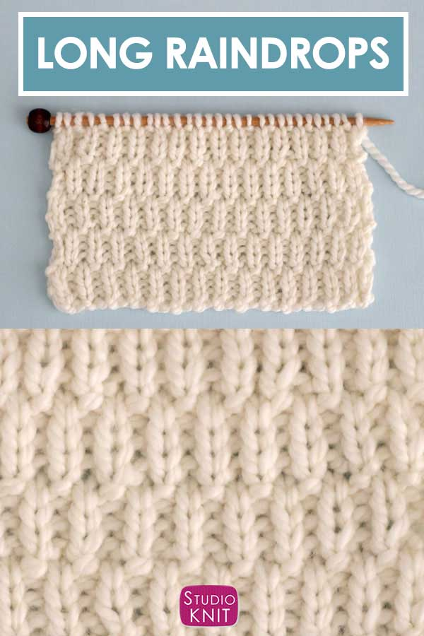 The Long Raindrops Stitch Pattern with knits and purls