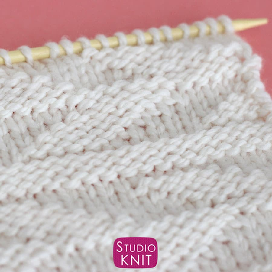 Embossed Leaf Stitch Pattern knitted swatch