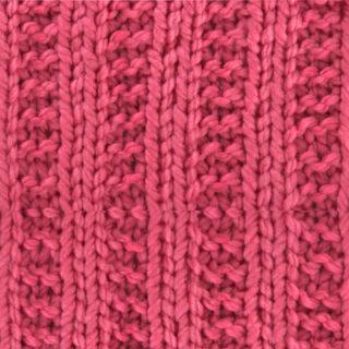 Garter Ribbing Knit Stitch Pattern in pink color yarn.