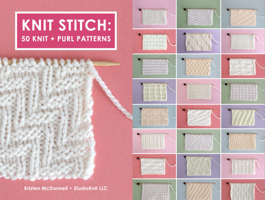 Book cover and back of the Knit Stitch: 50 Knit and Purl Patterns by Kristen McDonnell from Studio Knit with samples of knitted swatches in white yarn on colorful backgrounds.