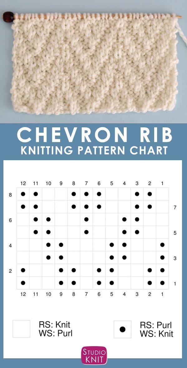 Chevron Rib Stitch Knitting Pattern Chart