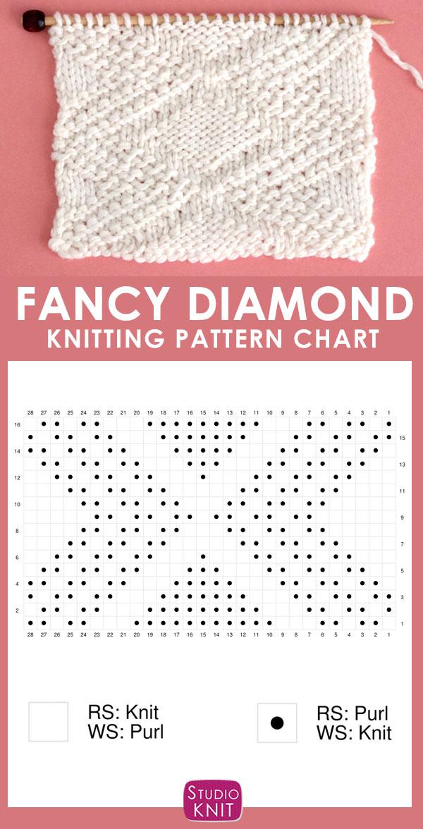 Fancy Diamond Stitch Knitting Pattern Chart