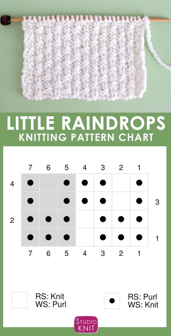 Little Raindrops Stitch Knitting Pattern Chart