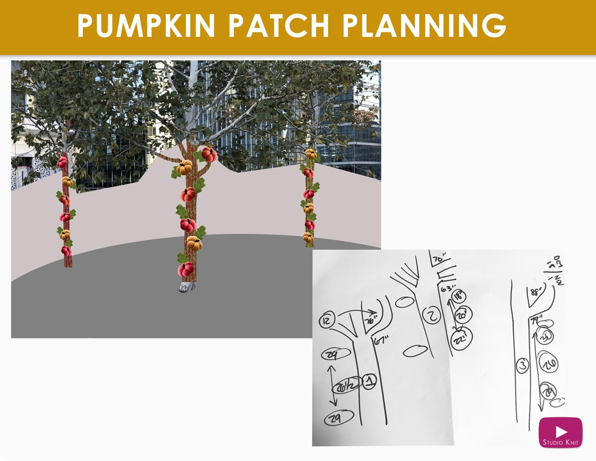 Pumpkin Patch Forest Yarnbomb planning by Studio Knit