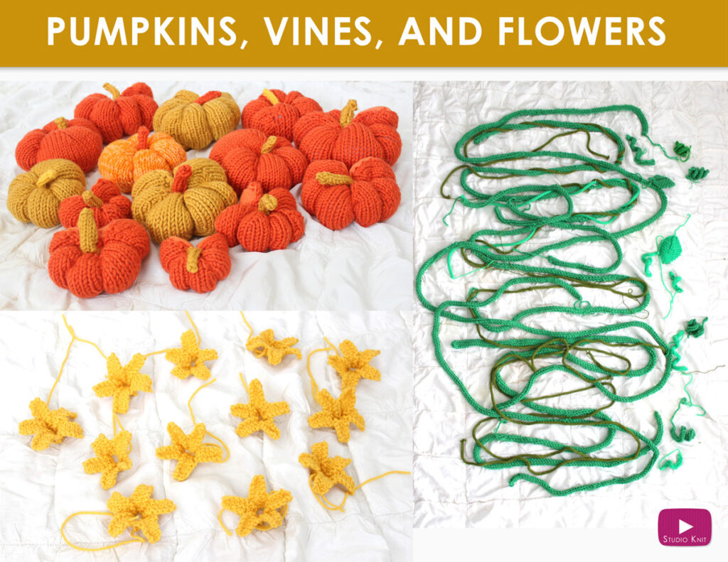 Hand knit pumpkins, flowers, and vines by Studio Knit for yarnbomb art installation in Salesforce Park