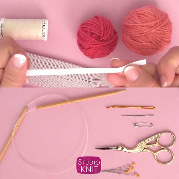 Hair Scrunchies tools and materials to knit