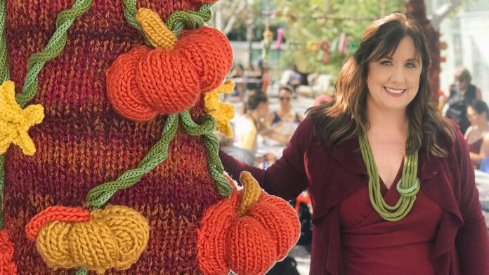 Studio Knit's Kristen McDonnell Fiber Artist Yarn Bombing Pumpkin Patch in San Francisco