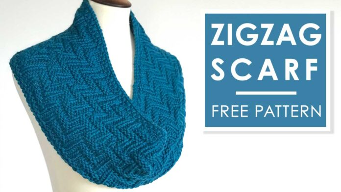 Knit Scarf in Zigzag Texture Free Pattern