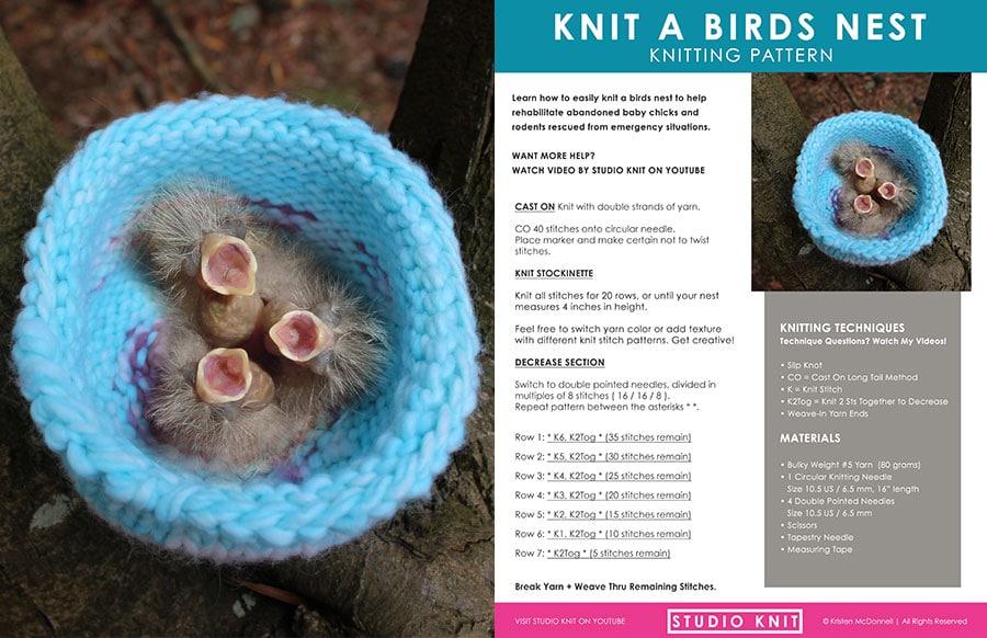 Knitting Pattern for Birds Nest