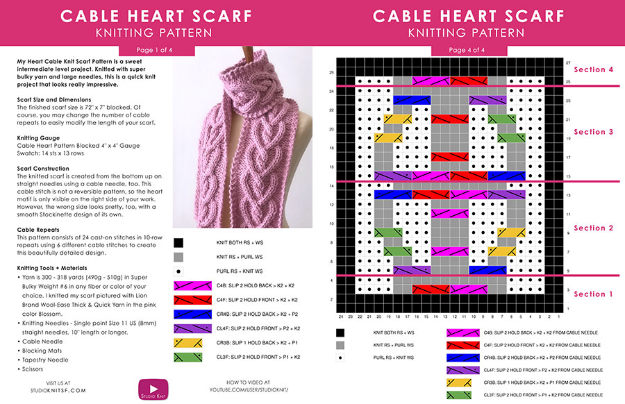 Written Pattern on the Heart Cable Knit Scarf by Studio Knit