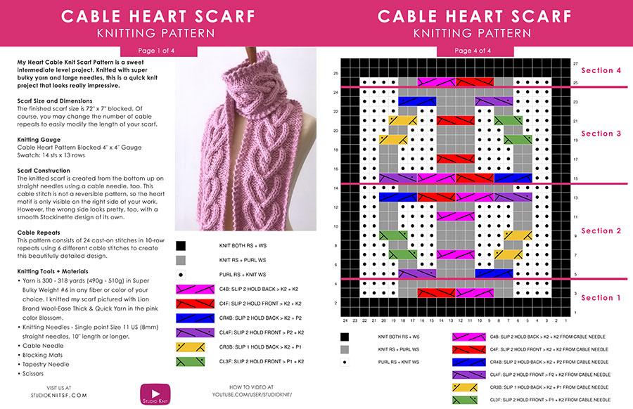 Schriftliches Muster auf dem Heart Cable Knit Scarf von Studio Knit