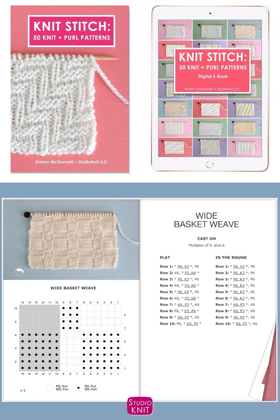 Knit Stitch Pattern Book with Wide Basket Weave Stitch by Studio Knit