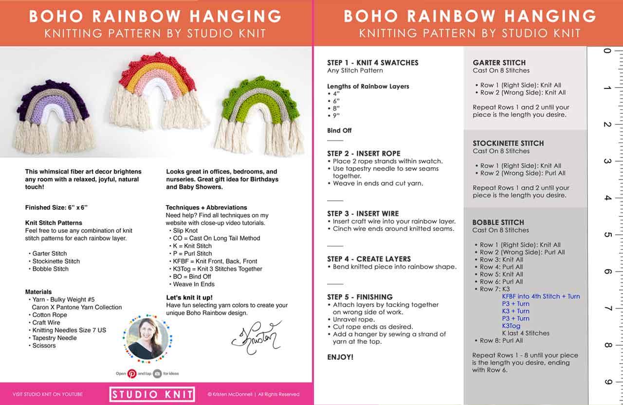 Written pattern of knitted rainbows