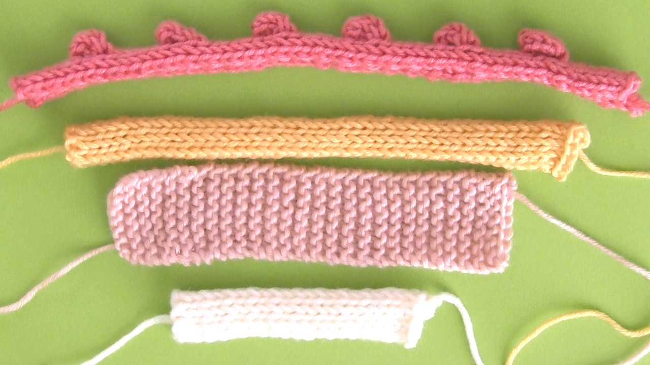 layers of knitted swatches