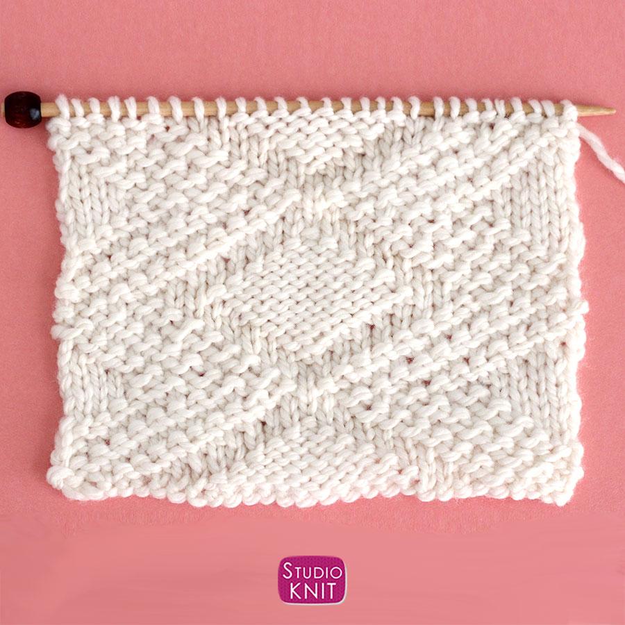 Knitted Swatch of Fancy Diamond Stitch Pattern