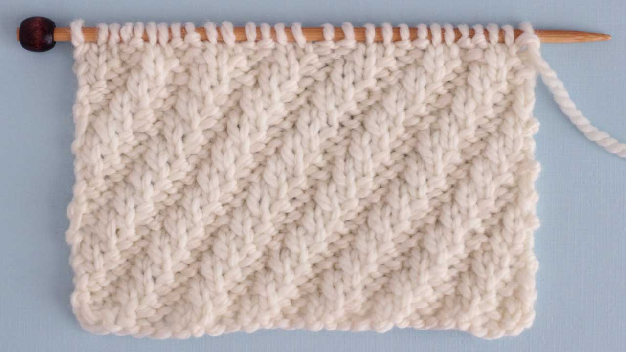 Diagonal Rib Stitch Knitting Pattern