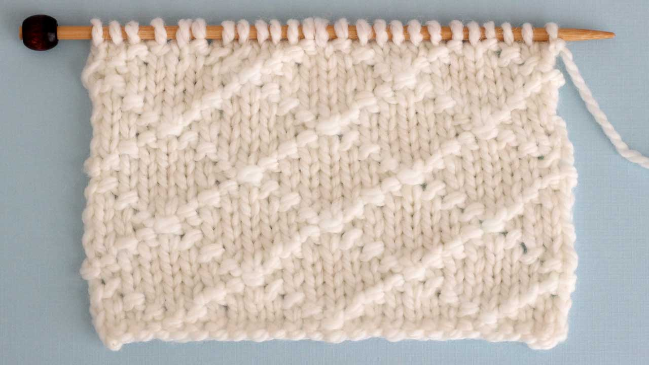 Diamond Brocade Stitch Knitting Pattern