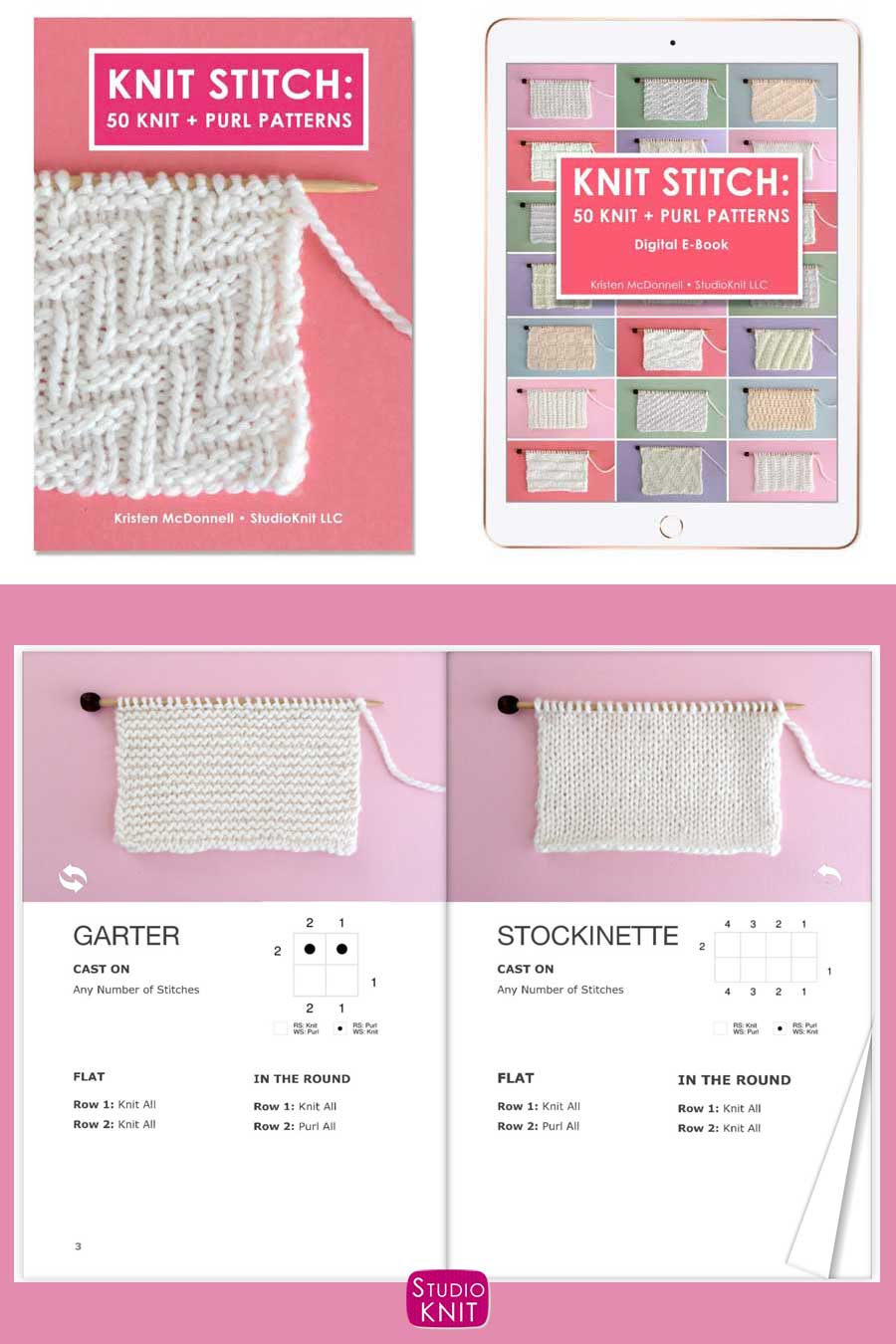 Knit Stitch Pattern Book with Garter and Stockinette Stitch Patterns by Studio Knit