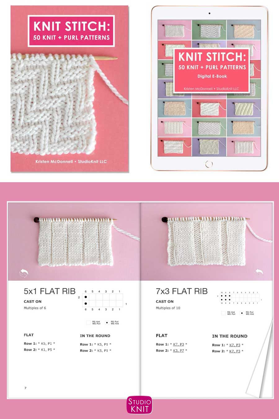 Knit Stitch Pattern Book with 5x1 Flat Rib and 7x3 Flat Rib Stitch Patterns