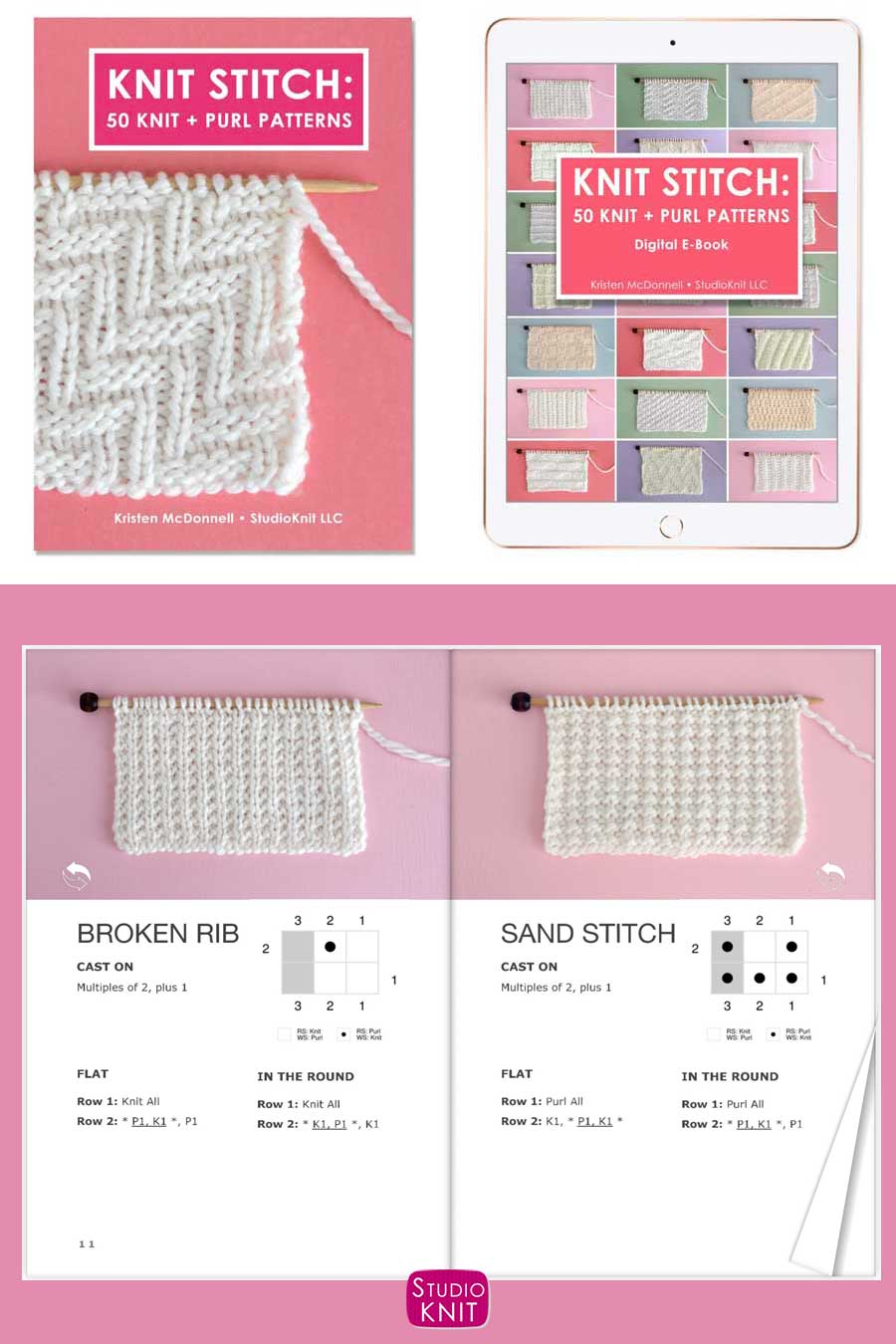 Knit Stitch Pattern Book with Broken Rib and Sand Stitch Patterns