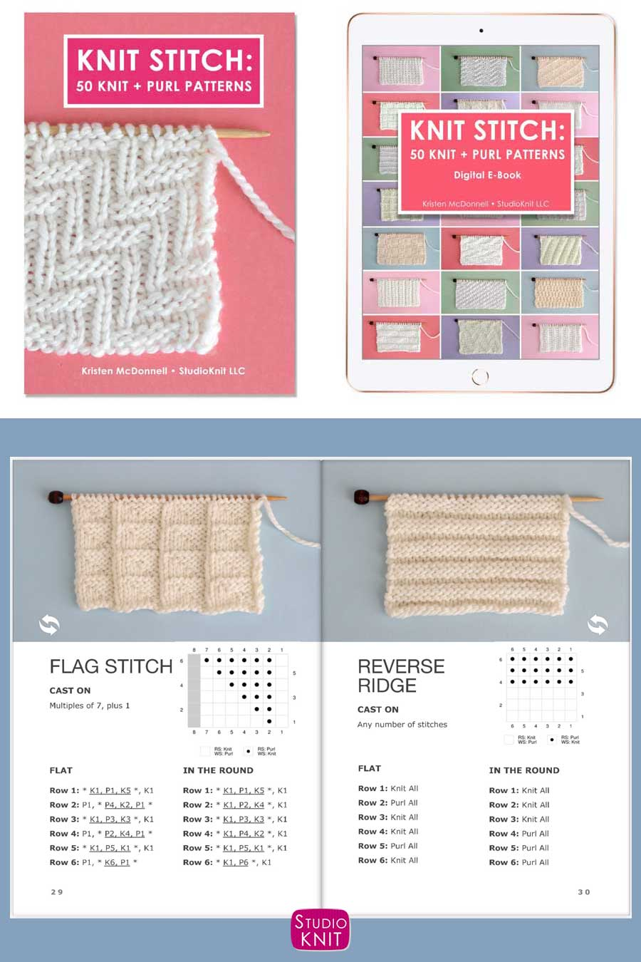Knit Stitch Pattern Book with Flag and Reverse Rib Stitch
