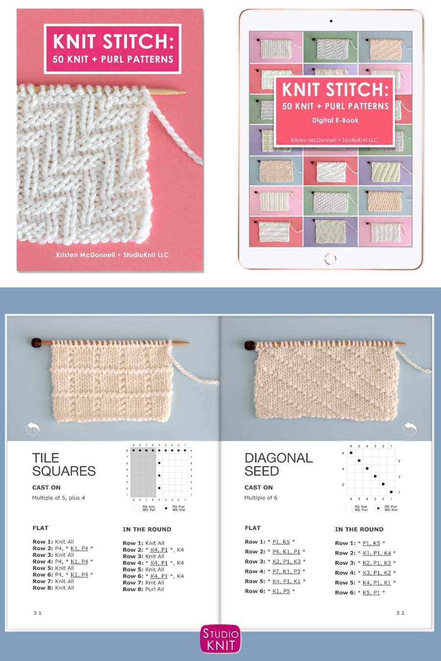 Knit Stitch Pattern Book with Tile Squares and Diagonal Seed Stitch