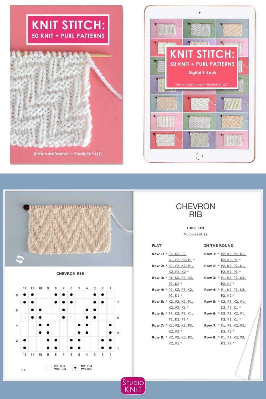 Knit Stitch Pattern Book with Chevron Rib Stitch