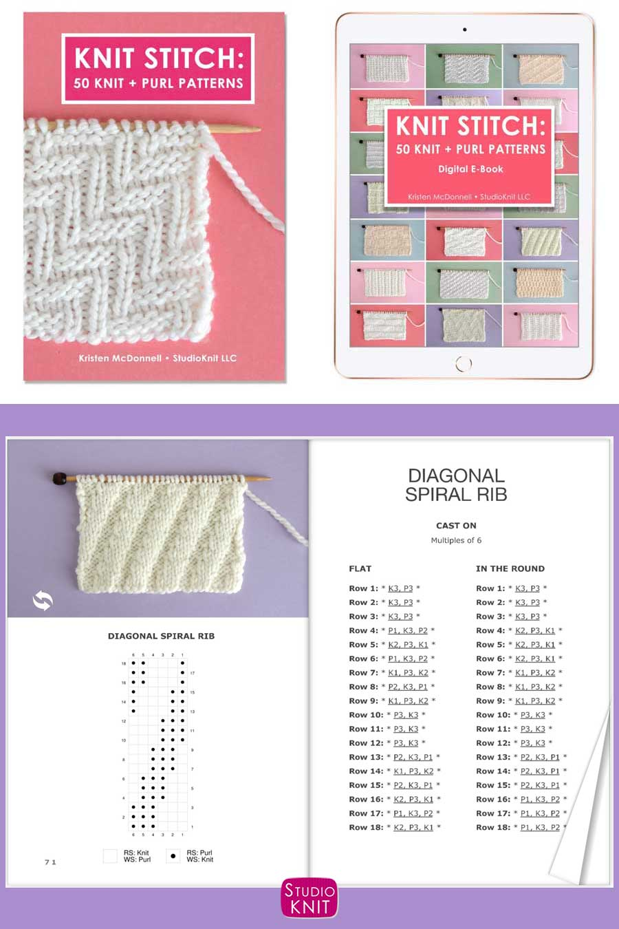 Knit Stitch Pattern Book with Diagonal Spiral Rib Stitch