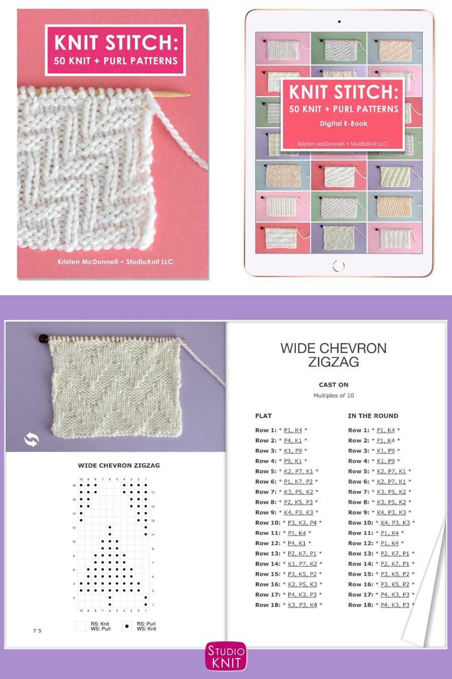 Knit Stitch Pattern Book with Wide Chevron Zigzag Stitch