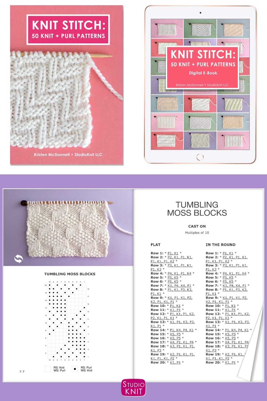 Knit Stitch Pattern Book with Tumbling Moss Blocks Stitch
