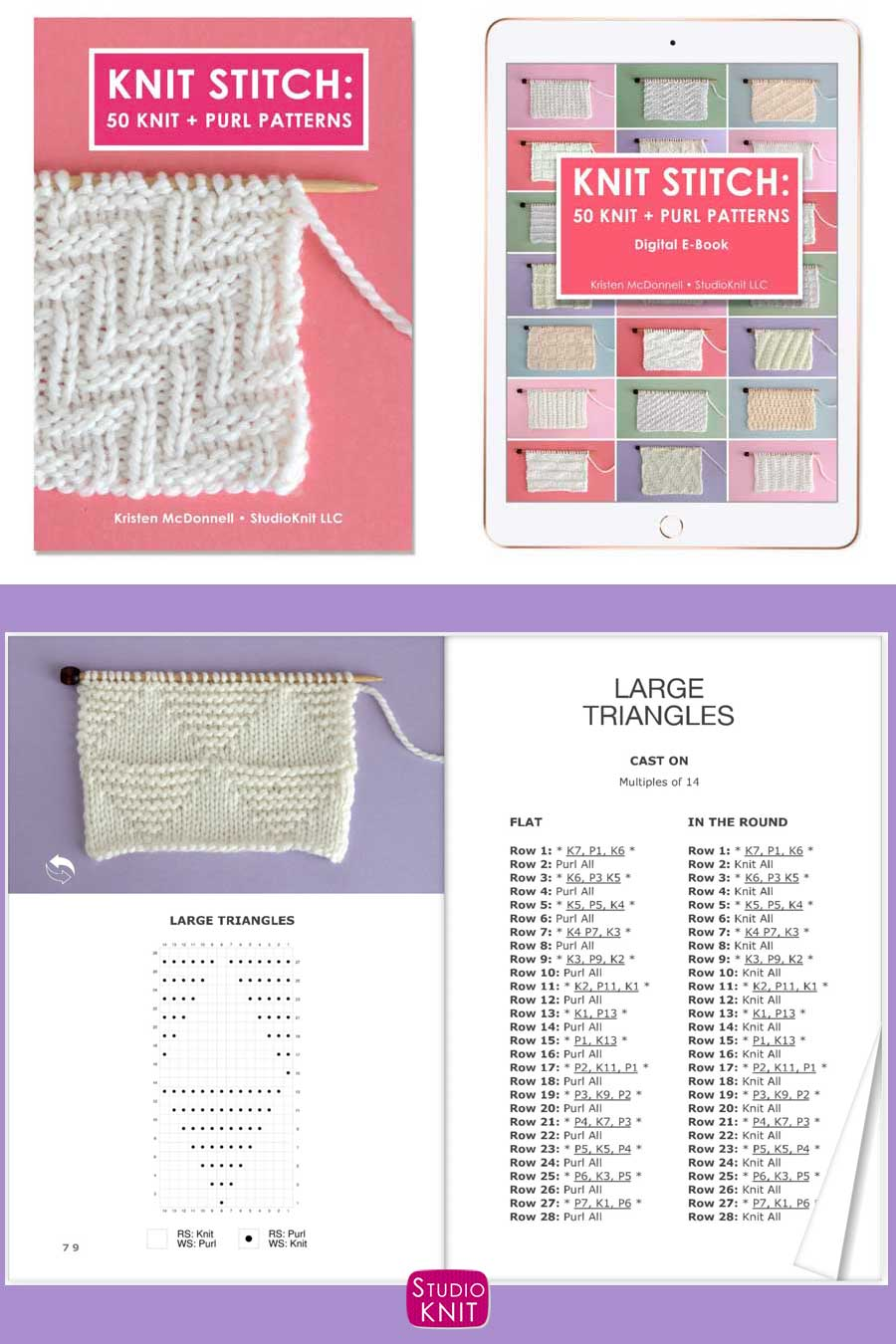 Cover of Knit Stitch Pattern Book with Large Triangles written pattern and knitting chart
